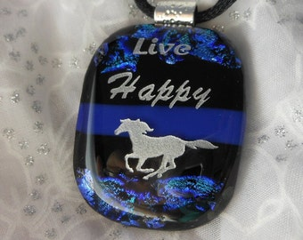 Dicroic Fused Glass Pendant Necklace Horse Pendant Necklace Live Happy Pendant