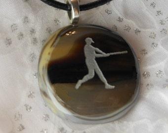 Fused Glass Pendant Necklace, Baseball Pendant Necklace Baseballf Keychain