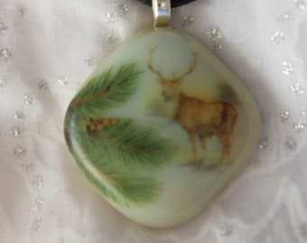 Fused Glass Jewelry, Fused Glass Pendant Necklace, Deer Pendant Necklace