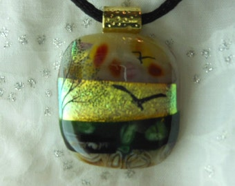 Dicroic Fused Glass Pendant Necklace, Fused Glass Jewelry, Bird Scene Pendant