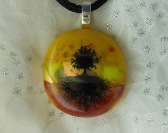 Dicroic Fused Glass Pendant Necklace, Fused Glass Jewelry,  Tree of Life Pendant