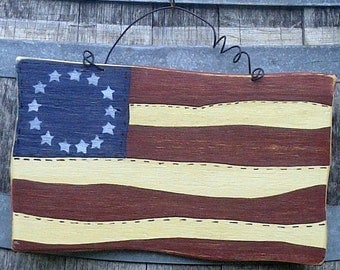 Americana Flag Folk Art of 13 Star Colonial on Reclaimed Wood