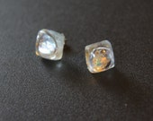 Glass Fused Post Earrings in Clear with Iridescence