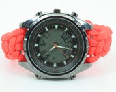 Life Survival Paracord Watch Analog & Digital Chrome Round Face Cobra Knot Side Clip Clasp Custom Colors Handmade