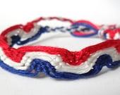 Fourth of July Friendship Bracelet - Macrame - Patriotic - Speed Chaser Design
