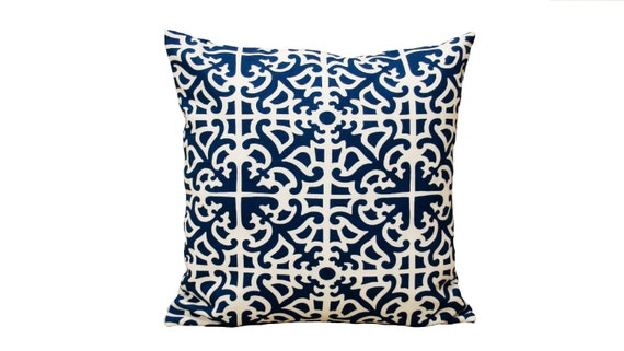 Blue Pillow, White Pillow, Waverly Fabric, 18 inches x 18 inches