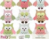 Owls Clip Art Digital Pink Green - Girly Birds