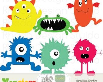 Digital Clip Art Monsters Halloween Party graphics design