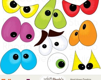 Halloween Digital Clip Art eyes images (9 graphics) spooky eyeballs