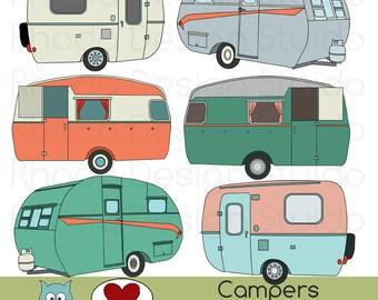 Vintage Campers Digital Clip Art Retro Camp Trailers