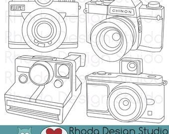 Vintage Cameras Digital Clip Art Retro Camera Photography stamps