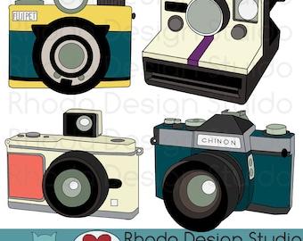 Vintage Cameras Digital Clip Art Retro Camera Photography Illustration (color)