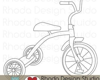 Retro Tricycle Digital Clip Art Vintage Bicycles Stamps Trike