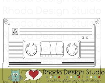 Retro Cassette Tape Digital Clip Art Vintage Music Stamps