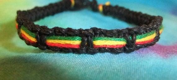 R.A.S.T.A. Black Hemp Bracelet with Striped Color Trio