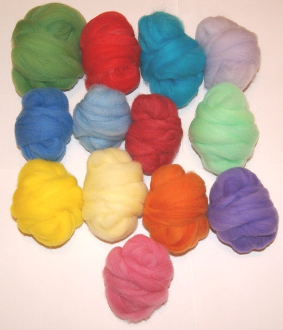 Wool Roving 13 Colors for Needle Felting and Spinning 6 ounces Hand Dyed and Pulled