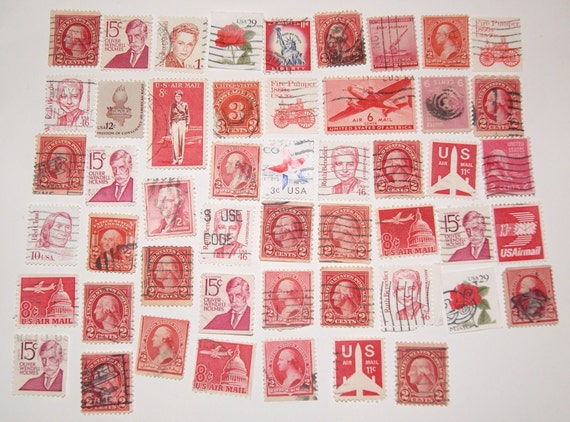 Lot of 50 Postage Stamps Red USA Vintage Scrapbooking Collage Altered Art