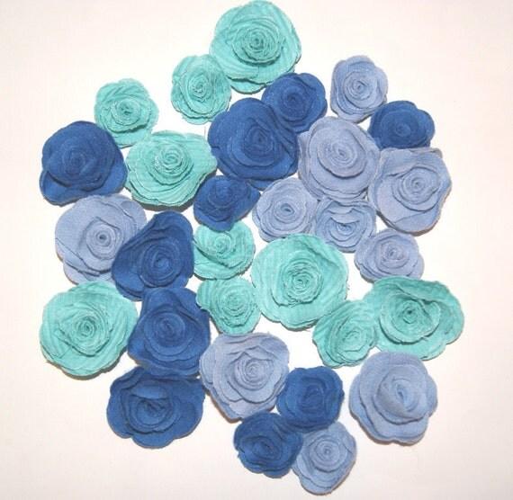 Blue fabric flowers roses appliques set of 30 by scrapitsideways - Appliques flos ...