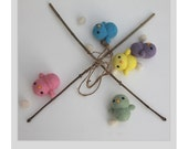 Hand Needle Felted Baby Mobile - Cotton Candy ( Made to Order)