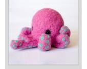 Needle Felted Octopus Figurine - Berry