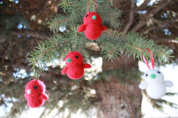 4 Hand Needle Felted Christmas Ornaments- Nerdy Birdies (made to order)