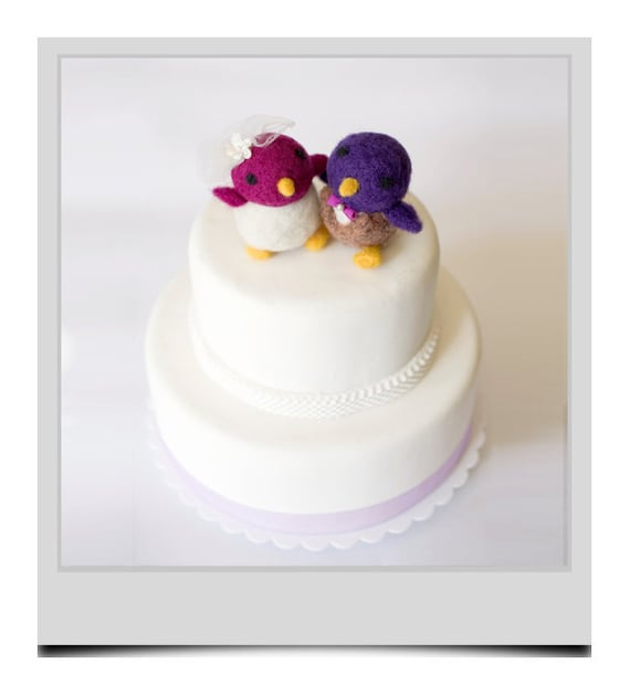 Needle Felted Wedding Cake Topper