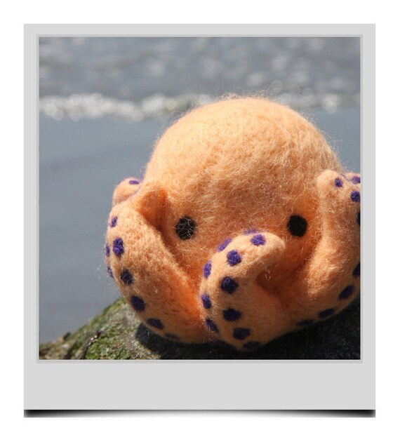 Reserved for Robyn - Hand Needle Felted Octopus  - Cantaloupe