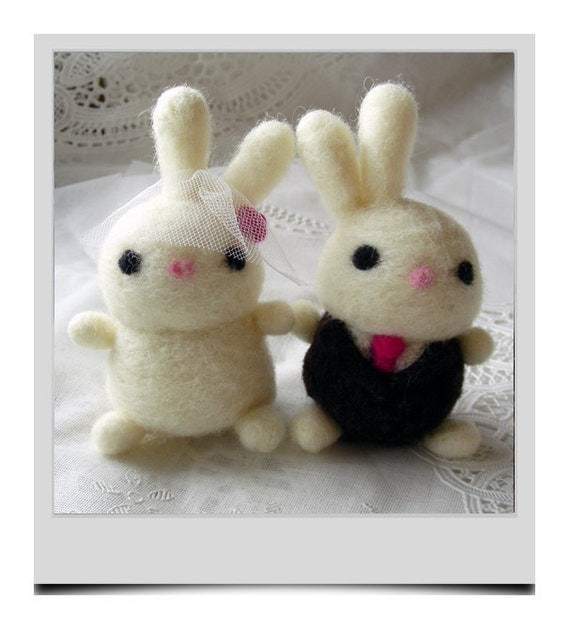 Hand Needle Felted Wedding Cake Topper - Love Bunnies ( made to order)