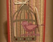 Bird in Cage Greeting Card, Blank