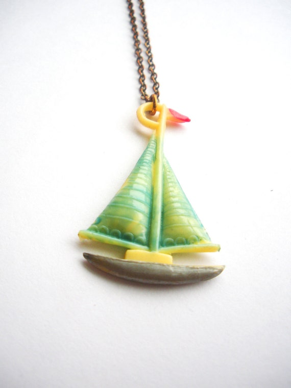 Hand-painted Pre World War II Celluloid Charm Ship Necklace - Large