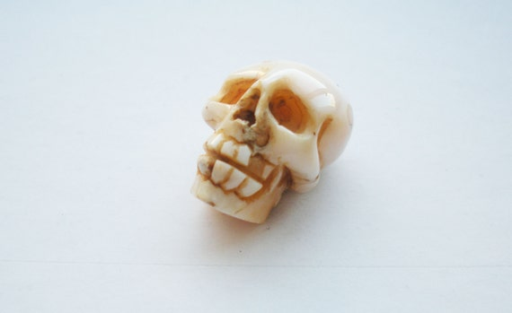 Large Hand Carved White Coral Skull Bead