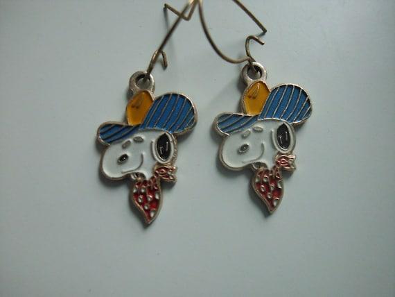 Vintage Cowboy Snoopy Earrings