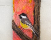 Needle Felted Wall Art Tapestry Black Capped Chickadee
