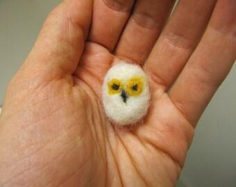 Miniature Needle Felted Snowy Owl Wool Pet --- Meet Gunther