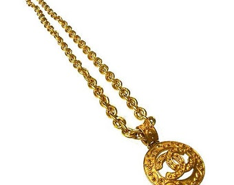 Vintage CHANEL Necklace Gold-tone CC Coco Logo Charm Pendant 1980s-1990s at HauteDecades on Etsy