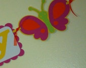 Butterfly name banner, butterfly garland, butterfly party decor
