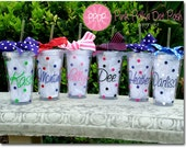 Bridesmaid gifts Personalized Cups 6 16oz Clear Acrylic Tumbler Cup with Screw on Acrylic Lid and Removable Straw