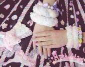 cute marshmallow rope fluff cuff / bracelet - YELLOW