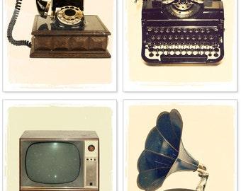 Photography set - Antique Wonders: Set of Four 5x7  Vintage Retro photographs - Typewriter, phone, phonograph