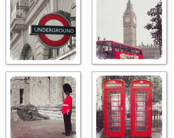 London in Red Photograph Prints, Set of 4 retro style, Big Ben, Metro, Phone booth, British Guard, Red Bus