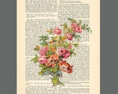 Flowers.  ARTWORK on page from antique book of poems