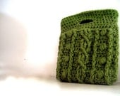 Crochet clutch : Too cute olive green clutch bag features vintage floral fabric. Very sweet chic.
