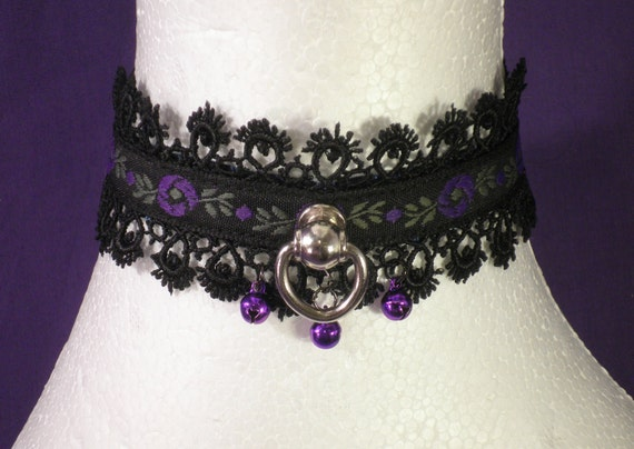Last One: Purple Flower Locking Slave Collar With Bells and Lace Trim - Absolute Devotion