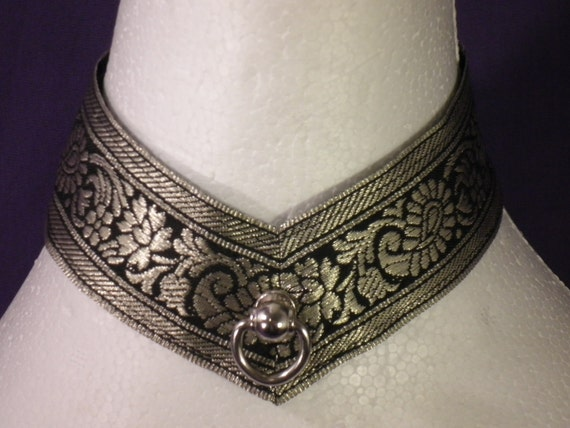 Made To Order: Limited Edition Gold and Black Brocade Pointed Lace Up Collar - Absolute Devotion