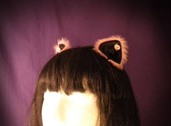 Candy Kitten: Pink and Black Cat Ears With Tiny Pink Roses - Absolute Devotion