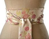 Ivory satin obi belt, pink flower obi sash, wedding obi belt, bridal satin sash, waist cincher , japanese inspired obi , asian brocade