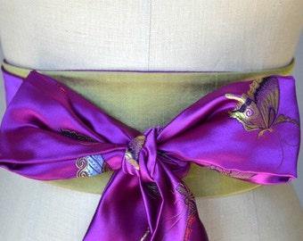 Violet purple Obi belt sash reversible satin brocade  fabric asian green butterfly wedding sash waist cincher