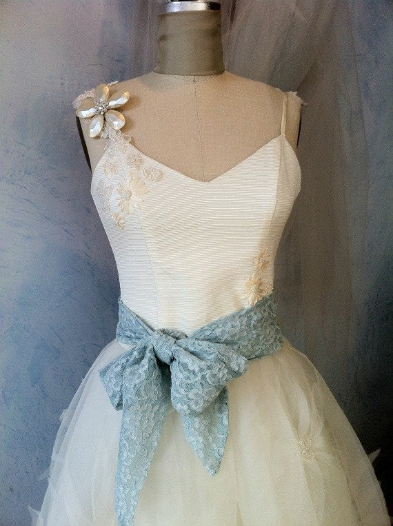 Something Blue lace Wedding sash belt Brides flowergirls bridesmaids