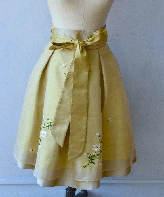Silk Skirt short ball skirt evening skirt with obi sash tan gold silk fabric engagement party