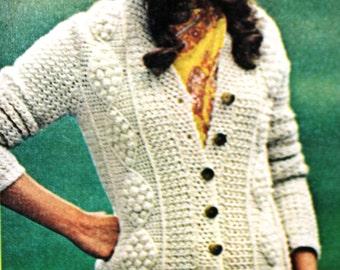 Crochet Pattern for Aran Fisherman Cardigan Sweater (PDF)